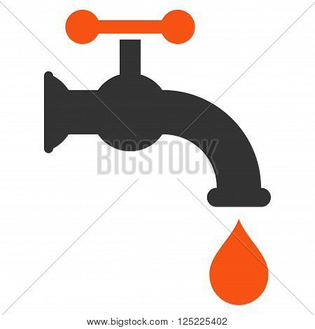 Water Tap vector icon. Water Tap icon symbol. Water Tap icon image. Water Tap icon picture. Water Tap pictogram. Flat orange and gray water tap icon. Isolated water tap icon graphic.