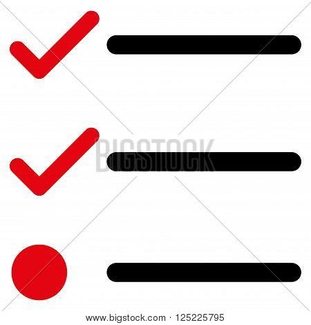 Checklist vector icon. Checklist icon symbol. Checklist icon image. Checklist icon picture. Checklist pictogram. Flat intensive red and black checklist icon. Isolated checklist icon graphic.