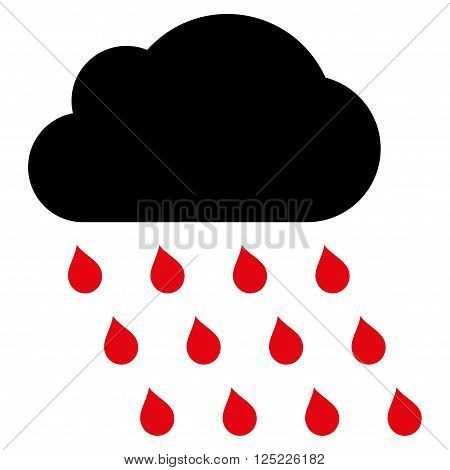 Rain Cloud vector icon. Rain Cloud icon symbol. Rain Cloud icon image. Rain Cloud icon picture. Rain Cloud pictogram. Flat intensive red and black rain cloud icon. Isolated rain cloud icon graphic.