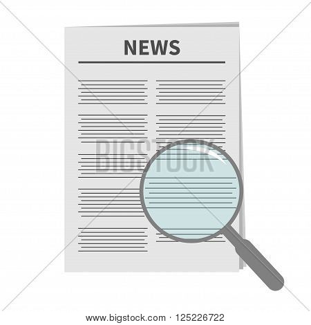 Newspaper icon Optic glass instrument Magnifier Search Flat design Isolated White background Vector illustration
