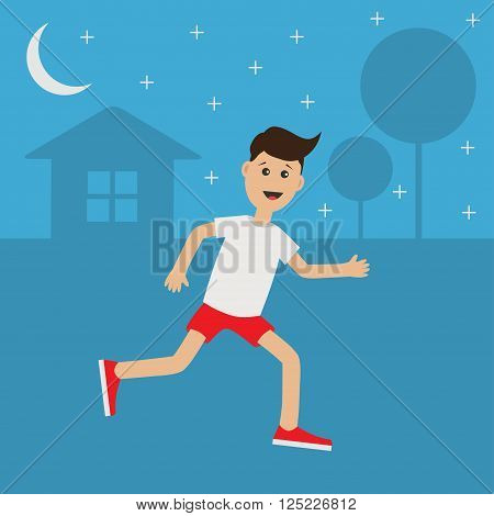Funny cartoon running guy Night summer time. House tree silhouette. Stars shining Cute run boy Jogging man Runner outside Fitness cardio workout Running male character Flat design Vector illustration