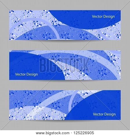 Set of horizontal banners with geometric pattern on blue doted background. Business, science, medicine and technology design.