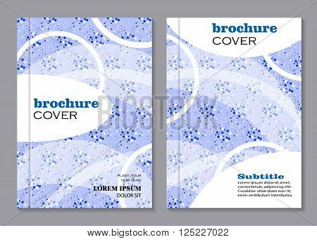 Modern vector templates for brochure cover in A4 size. White geometric pattern on blue doted background. Business, science, medicine and technology design.
