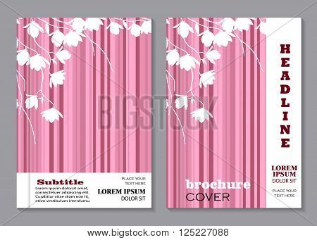 Modern vector templates for brochure cover in A4 size. White magnolia branches on pink striped background.