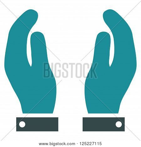 Care Hands vector icon. Care Hands icon symbol. Care Hands icon image. Care Hands icon picture. Care Hands pictogram. Flat soft blue care hands icon. Isolated care hands icon graphic.
