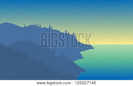 Silhouette of the sea on the hills
