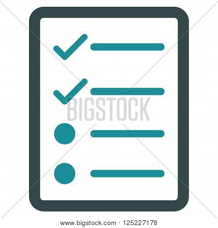 Checklist Page vector icon. Checklist Page icon symbol. Checklist Page icon image. Checklist Page icon picture. Checklist Page pictogram. Flat soft blue checklist page icon.