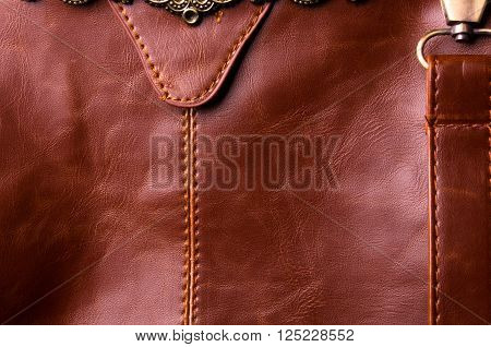 closeup of the fittings on the brown leather hand bag