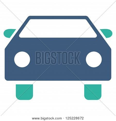 Car vector icon. Car icon symbol. Car icon image. Car icon picture. Car pictogram. Flat cobalt and cyan car icon. Isolated car icon graphic. Car icon illustration.