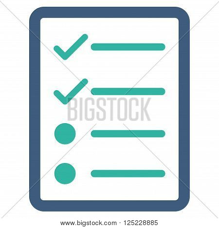 Checklist Page vector icon. Checklist Page icon symbol. Checklist Page icon image. Checklist Page icon picture. Checklist Page pictogram. Flat cobalt and cyan checklist page icon.