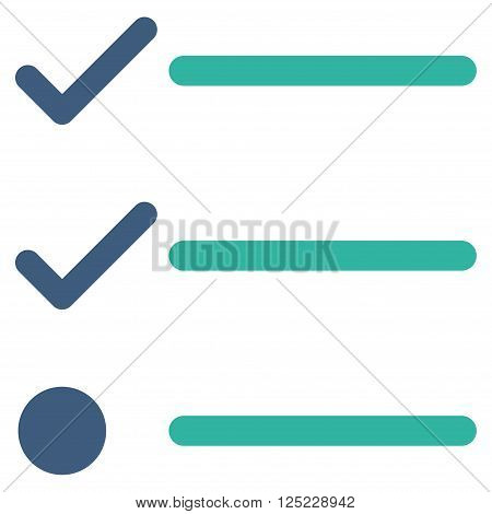 Checklist vector icon. Checklist icon symbol. Checklist icon image. Checklist icon picture. Checklist pictogram. Flat cobalt and cyan checklist icon. Isolated checklist icon graphic.