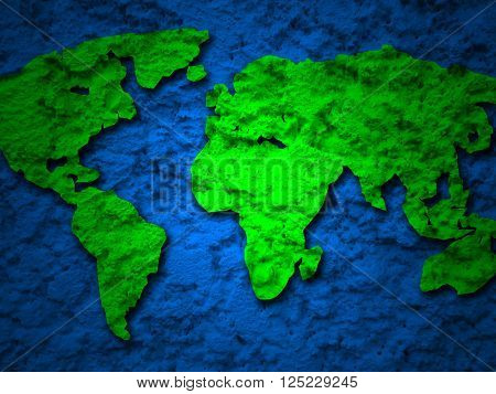 green grunge earth map on a blue background 1