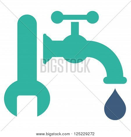Plumbing vector icon. Plumbing icon symbol. Plumbing icon image. Plumbing icon picture. Plumbing pictogram. Flat cobalt and cyan plumbing icon. Isolated plumbing icon graphic.