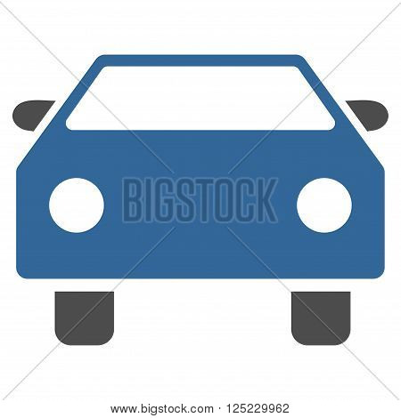 Car vector icon. Car icon symbol. Car icon image. Car icon picture. Car pictogram. Flat cobalt and gray car icon. Isolated car icon graphic. Car icon illustration.