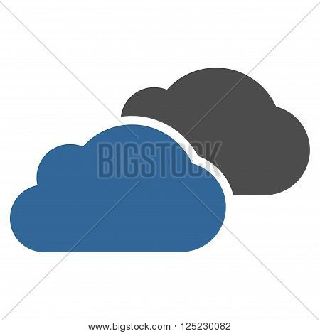 Clouds vector icon. Clouds icon symbol. Clouds icon image. Clouds icon picture. Clouds pictogram. Flat cobalt and gray clouds icon. Isolated clouds icon graphic. Clouds icon illustration.