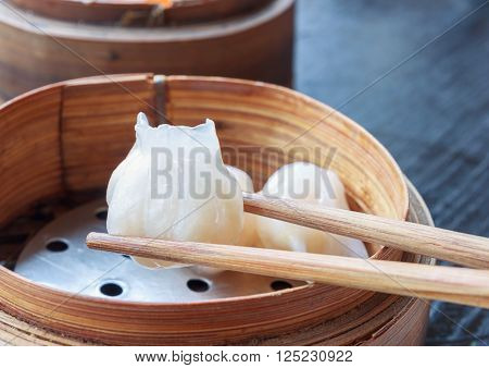 chinese dim sum dumplings in Bamboo Basket