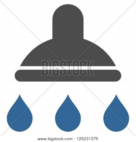 Shower vector icon. Shower icon symbol. Shower icon image. Shower icon picture. Shower pictogram. Flat cobalt and gray shower icon. Isolated shower icon graphic. Shower icon illustration.