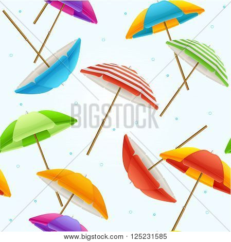 Colorful Beach Umbrella Background Pattern. Vector illustration