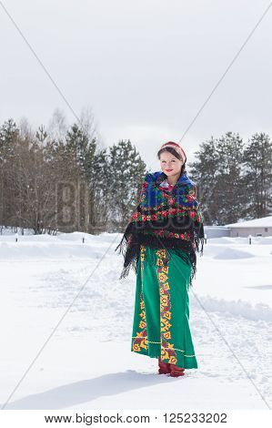 Portrait Of Russian Woman In A Winter Day.