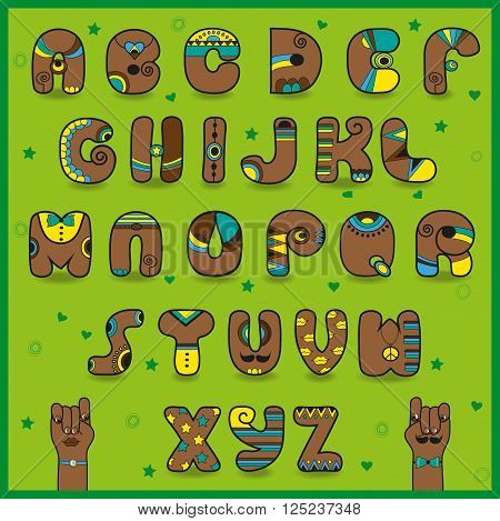Chocolate Alphabet. Funny brown letters with bright yellow and blue parts. Vector Illustration