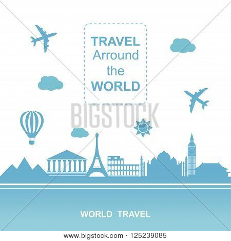 Famouse places. Travel arround the world vector illustration. Travelling by plane, airplane trip in various country.  Flat icon modern design style poster. Travel banner.
