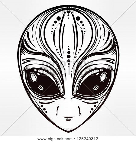 Alien face icon. Halloween, conspiracy theory, sci-fi, religion, spirituality, occultism, tattoo art. Iseolated vector illustration.