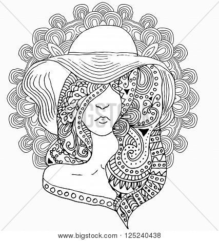 young pretty girl with doodle hairs wearing hat. Fashion illustration. Uncolored image can be used as adult coloring book, coloring page, invitation, greeting card.