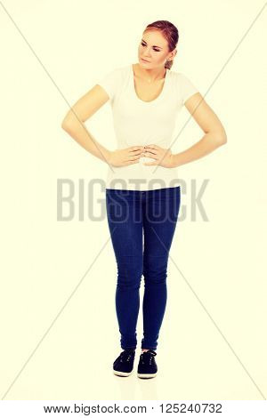 Young woman with stomach ache
