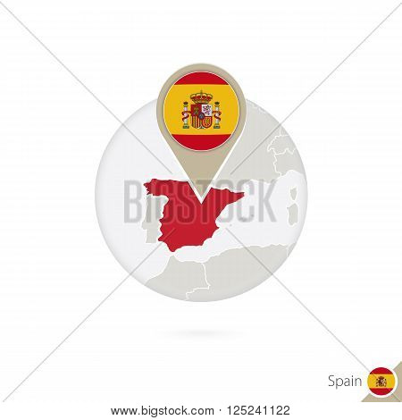 Spain Map And Flag In Circle. Map Of Spain, Spain Flag Pin. Map Of Spain In The Style Of The Globe.