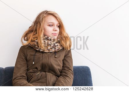 Beautiful Blond Teenage Girl In Warm Clothes