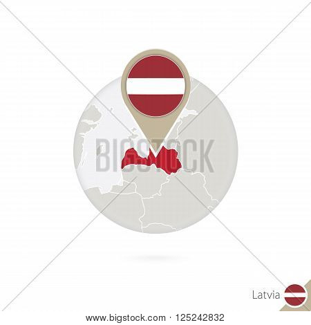 Latvia Map And Flag In Circle. Map Of Latvia, Latvia Flag Pin. Map Of Latvia In The Style Of The Glo