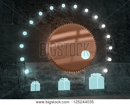 level adjust of gift value. regulator with neon shine scale. 3D rendering