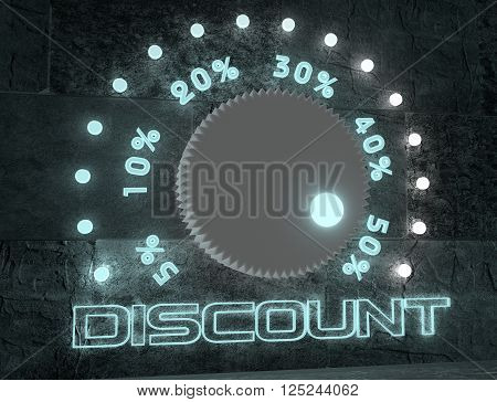 level adjust of discount value. regulator with neon shine scale. 3D rendering