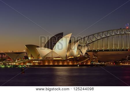 SYDNEY AUSTRALIA - April 11, 2016 : Night view of Sydney Opera House, Sydney, Australia, Over 10 millions tourists visit Sydney every year