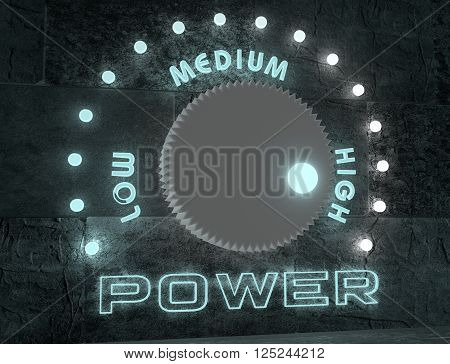 balance adjust between low and high power. regulator with neon shine scale. 3D rendering