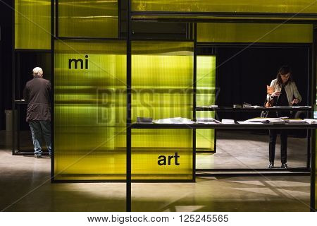 People Visiting Miart 2016 In Milan, Italy