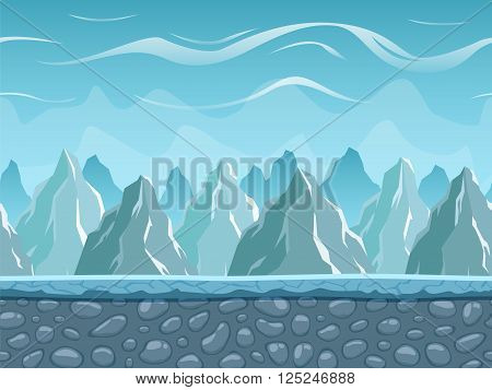 Seamless cartoon landscape with mountains. Vector unending background with separated layers ready for game and animation. Vector illustration.