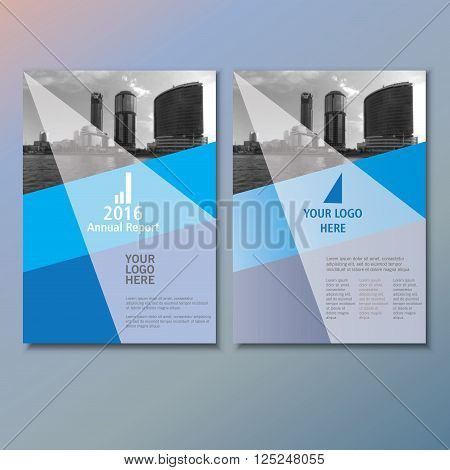 Blue annual report Leaflet Brochure Flyer template A4 size design, book cover layout design, Abstract blue presentation templates