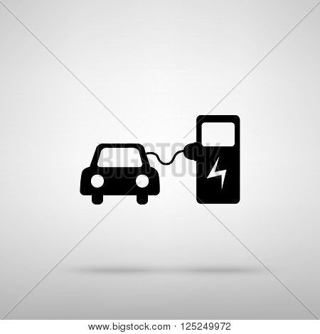 Electric car battery charging sign. Black with shadow on gray.