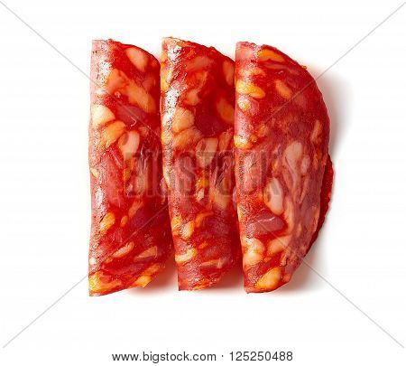 Chorizo Sausage On White Background