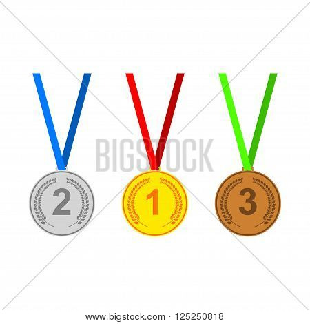 Medal icons set. Gold medal silver medal bronze medal. Medals with laurel wreaths. Vector set of medals.