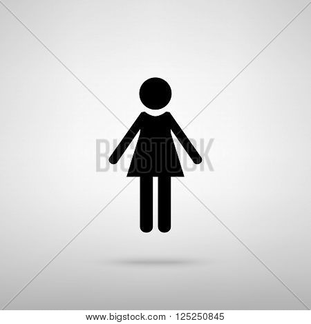 Woman sign. Black with shadow on gray.