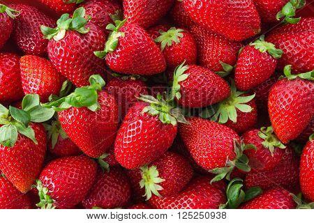 A group of Fresh organic strawberries fruit