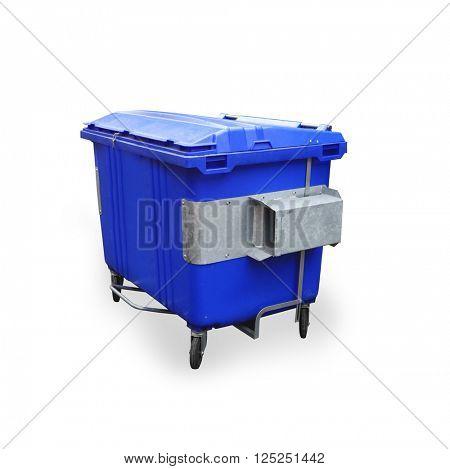 A large blue garbage bin