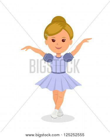 Figure skating. Skater girl in a beautiful dress fulfills skating element. Isolated female character on skates. Concept design of a healthy lifestyle.