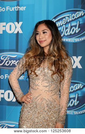 LOS ANGELES - APR 7:  Jessica Sanchez at the American Idol FINALE Arrivals at the Dolby Theater on April 7, 2016 in Los Angeles, CA