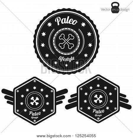 Vector set of three retro Paleo badges clean style black color