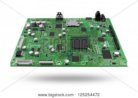 Electronic circuit board with processor, close up. Isolated on white.