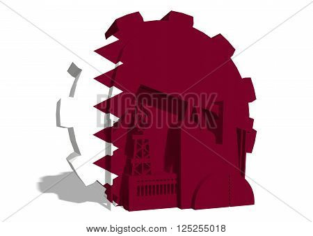 3D gear with oil pump gas rig and factory simple icons textured by Qatar flag. Heavy and mining industry concept. 3D rendering