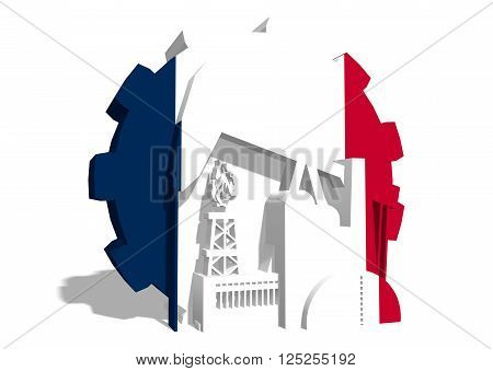 3D gear with oil pump gas rig and factory simple icons textured by France flag. Heavy and mining industry concept. 3D rendering